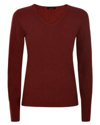 Jaeger | Red Cashmere V-neck Sweater | Lyst