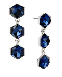 Kenneth Cole | Blue Sapphire Lights Triple Stone Drop Earrings | Lyst