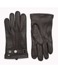 Tommy Hilfiger - Black Leather Tailored Gloves for Men - Lyst