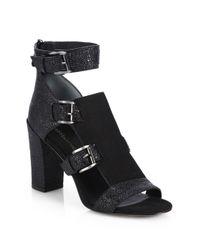 Rebecca Minkoff Black Textured Leather & Suede Sandals