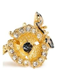 Alexander McQueen - Metallic Crystal Duo Flower Skull Ring - Lyst