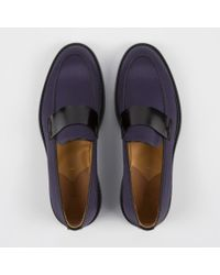Paul Smith - Women'S Dark Purple Satin And Black Leather 'Pierce' Loafers - Lyst