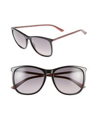 Gucci - Black 57mm Retro Sunglasses - Lyst