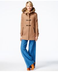 Cole Haan | Natural Faux-fur-trim Clasp-closure Coat | Lyst