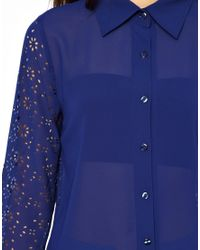 Darling | Blue Blouse with Cut Work Sleeve | Lyst