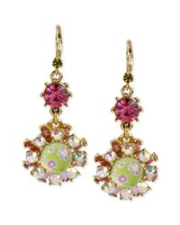 Betsey Johnson - Metallic Goldtone Floral Bead Drop Earrings - Lyst