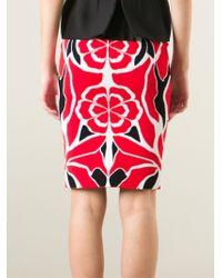Alexander McQueen | Red Flower Collage Jacquard Skirt | Lyst