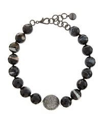 Nest | Short Black Line Agate Necklace | Lyst