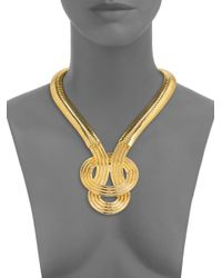 Kenneth Jay Lane | Metallic Knotted Pendant Necklace | Lyst
