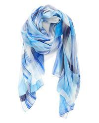 Echo - Blue 'Waterfall' Block Print Wrap - Lyst