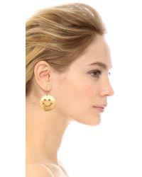 Erickson Beamon | Metallic Smiley Face Earrings - Gold | Lyst