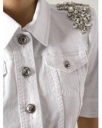 Philipp Plein | White Embellished Denim Blouse | Lyst