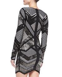 Hervé Léger - Black Rowyn Geometric Beaded Dress - Lyst