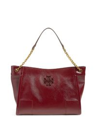 Tory Burch | Red Logo-Embossed Leather Tote | Lyst