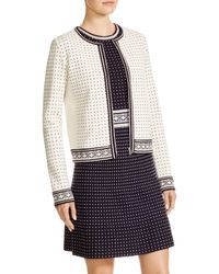 Tory Burch - White Zip Front Dot Cardigan - Lyst