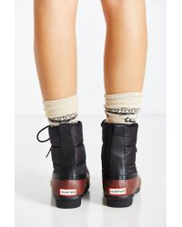 HUNTER | Black Quilted Short Lace-up Boot | Lyst