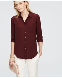 Ann Taylor | Purple Silk Shirt | Lyst