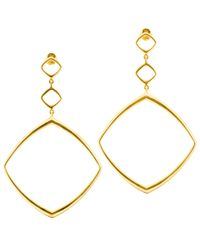 Dinny Hall - Metallic Large Gold Cushion Drop Hoops - Lyst