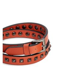Valentino | Orange 'rockstud' Double Wrap Leather Bracelet for Men | Lyst