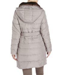 Ellen Tracy | Gray Faux Fur Trim Belted Down Coat | Lyst