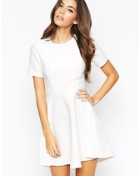 ASOS | White Petite Skater Dress In Texture With Cut Out Back & Hem | Lyst