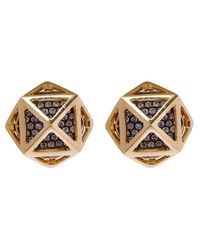 Noor Fares | Metallic Gold Octahedron Diamond Cage Stud Earrings | Lyst