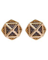 Noor Fares - Metallic Gold Octahedron Diamond Cage Stud Earrings - Lyst