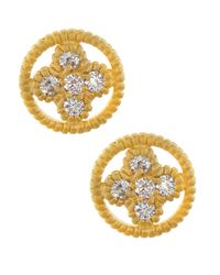 Freida Rothman | Metallic 14k Cz Round Clover Stud Earrings | Lyst