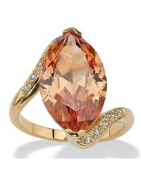 Palmbeach Jewelry - Metallic 8.04 Tcw Marquise-cut Champagne-color Cubic Zirconia Cocktail Ring 18k Gold-plated - Lyst