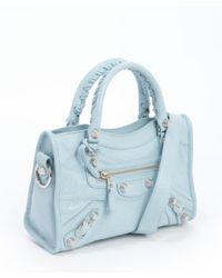 Balenciaga - Blue Bleu Dragee Distressed Lambskin Convertible 'Mini City' Satchel - Lyst