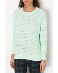 TOPSHOP - Green Knitted Chunky Bobble Jumper - Lyst