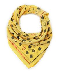 Moschino - Yellow Heart Print Square Scarf - Lyst