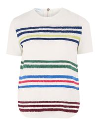 Mira Mikati - White Striped Embroidered Short Sleeve Top - Lyst