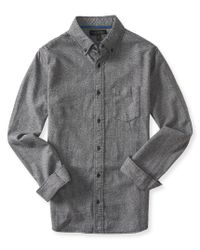 Aéropostale | Gray Long Sleeve Marled Woven Shirt for Men | Lyst