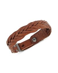Fossil - Brown Braided Leather Buckle Bracelet - Lyst