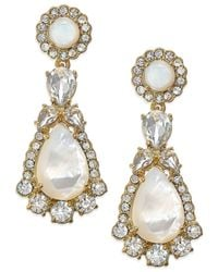 kate spade new york | Metallic 14k Gold-plated Mother-of-pearl And Crystal Drop Earrings | Lyst
