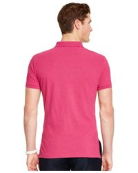 Polo Ralph Lauren - Pink Custom-fit Mesh Polo Shirt for Men - Lyst