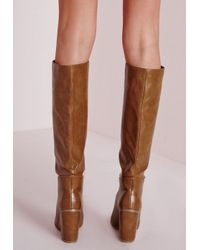 Missguided | Brown High Leg Patent Boots Tan | Lyst