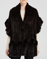 Maximilian | Brown Maximilian Mink Fur Knit Scarf With Ruffle And Rosette Trim | Lyst