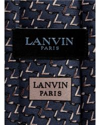 Lanvin - Blue Chevron Print Silk Satin Tie for Men - Lyst