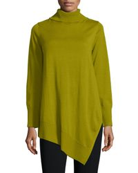 Eileen Fisher - Green Long-sleeve Merino Turtleneck Tunic - Lyst
