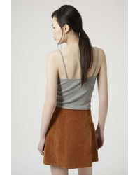 TOPSHOP - Gray Ribbed Cropped Cami - Lyst