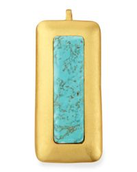 Stephanie Kantis | Metallic Crush Turquoise Rectangle Pendant | Lyst