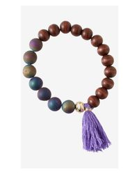 Express | Brown Wood Prayer Bead And Tassel Bracelet | Lyst