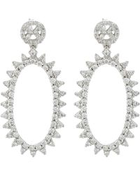 Deborah Pagani Metallic Oval Morningstar Earrings-colorless