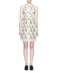 Erdem - Multicolor 'dina' 3d Floral Embroidery Silk Organza Dress - Lyst