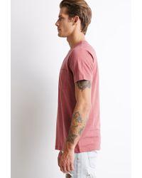 Forever 21 | Pink Micro-stripe Pocket Tee for Men | Lyst