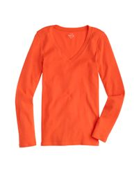 8c24ab02b767 Lyst - J.Crew Perfect-fit Long-sleeve V-neck T-shirt in Orange