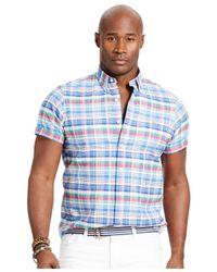 Polo Ralph Lauren | Blue Big & Tall Short-sleeve Plaid Oxford Shirt for Men | Lyst