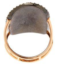 Kismet by Milka - Metallic Gold Champagne Diamond Oval Asymmetrical Long Ring - Lyst